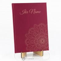 Leinen Notizbuch burgunderrot mit Lasergravur