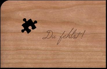 """Grußkarte aus Holz """"Puzzle"""" mit Umschlag"""