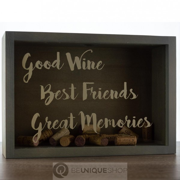 "Korkenbox ""Good Wine"" grau 26x25x10,5 cm Holzpost"