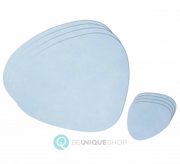 """Lind DNA 4 Tisch Sets """"Curve L"""" + 4 Glasuntersetzer """"Curve"""" sky blue"""