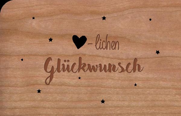 """Grußkarte aus Holz """"-lichen Glückwunsch"""""""