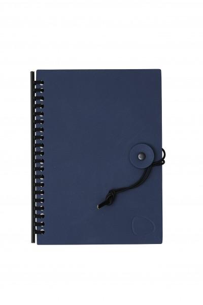 """Lind DNA Notizbuch mit Ledereinband """"Nupo"""" dunkel blau inkl. Nachfüllpack"""