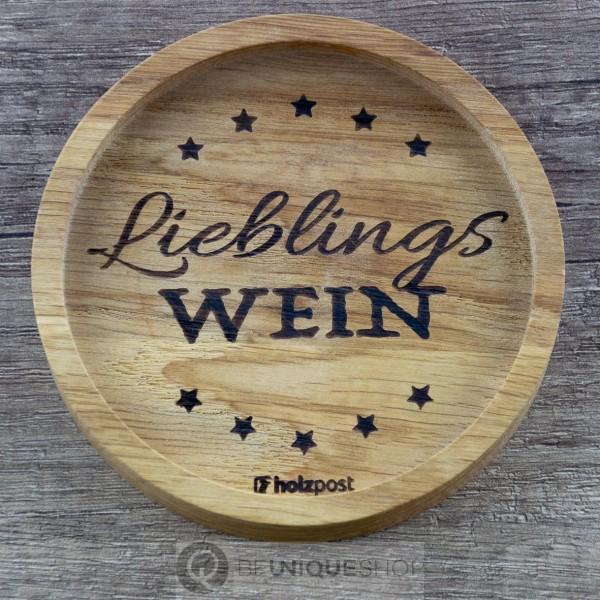 """Holzpost Glasuntersetzer EICHE 11,2 cm """"Lieblingswein"""" Holzpost"""