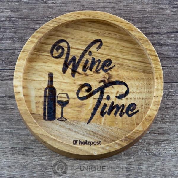 """Holzpost Glasuntersetzer EICHE 11,2 cm """"Wine Time"""" Holzpost"""