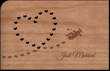 """Grußkarte aus Holz """"Just Married"""" mit Umschlag"""