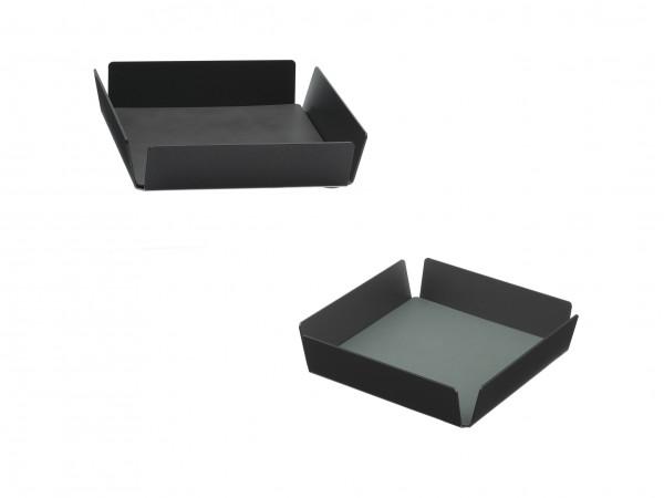 "Tablett ""Square mini"" Alu anthrazit 22x22x4,8 cm CLOUD anthrazit/NUPO pastell grün"
