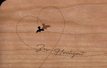 """Grußkarte aus Holz """"Hochzeit Vogel"""" mit Umschlag"""