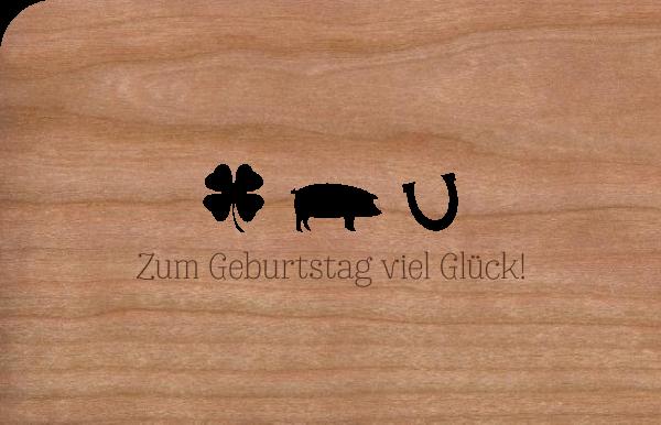 """Grußkarte aus Holz """"Zum Geburtstag Glück"""""""