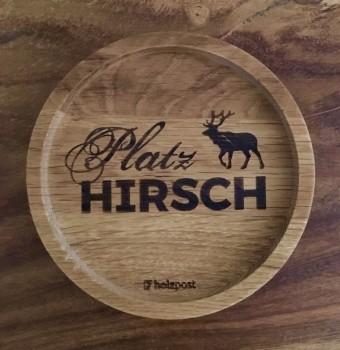 """Holzpost Glasuntersetzer EICHE 11,2 cm """"Platzhirsch"""""""