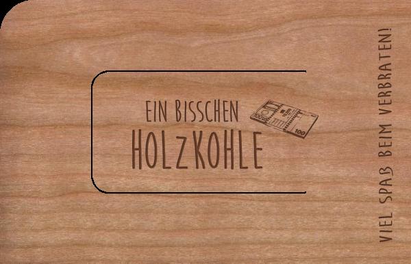"""Grußkarte aus Holz """"Holzkohle"""" mit Umschlag"""
