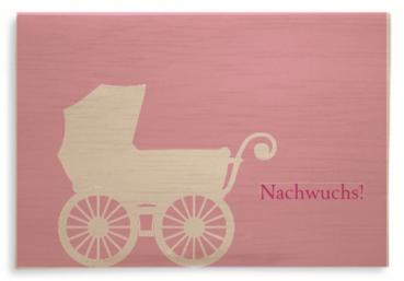 """Klappkarte aus Holz """" Nachwuchs ROSA"""" mit Umschlag"""