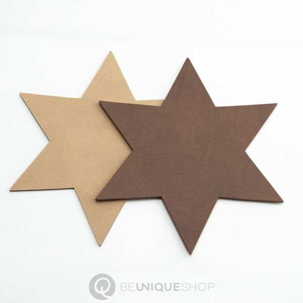 "Lind DNA Glasuntersetzer ""double Star"" 15x15 cm Cloud Brown/Nupo Sand"