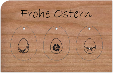 """Grußkarte aus Holz """"Anhänger Ostereier"""" mit Umschlag"""