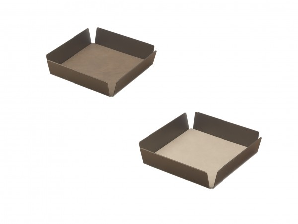 "Lind DNA Tablett ""Square mini"" Alu bronze 22x22x4,8 cm CLOUD braun/NUPO sand"