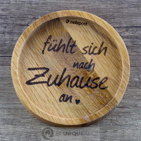 """Holzpost Glasuntersetzer EICHE 11,2 cm """"Zuhause"""" Holzpost"""