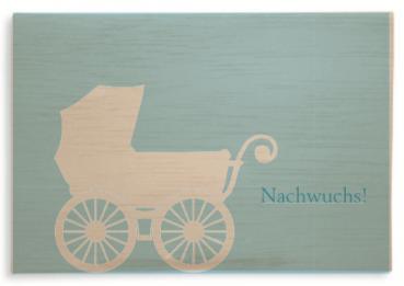 """Klappkarte aus Holz """" Nachwuchs Blau"""" mit Umschlag"""
