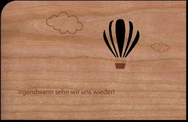 """Grußkarte aus Holz """"Ballon"""" mit Umschlag"""