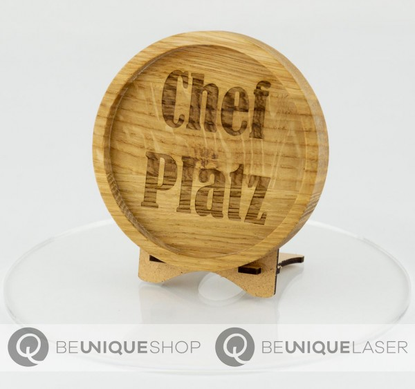 """Be Unique Holzuntersetzer Eiche mit Lasergravur """"Chef Platz"""""""