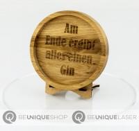 """Be Unique Holzuntersetzer Eiche mit Lasergravur """"Am Ende ergibt..."""""""