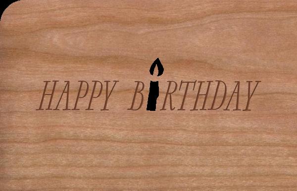 "Grußkarte aus Holz ""Happy Kerze"""