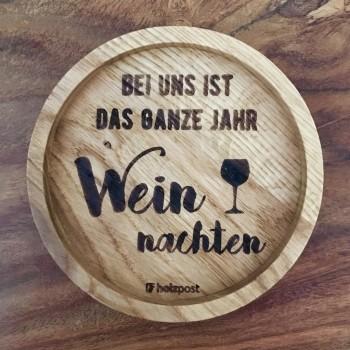 """Holzpost Glasuntersetzer EICHE 11,2 cm """"Weinnachten"""""""
