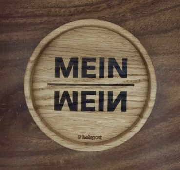 """Holzpost Glasuntersetzer EICHE 11,2 cm """"Mein Wein"""""""
