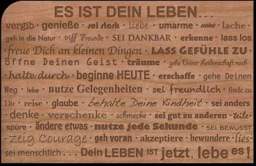 """Grußkarte aus Holz """"Leben"""" mit Umschlag"""