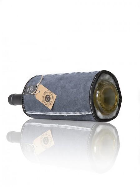 Kywie Wine Sleeve Blue Suede Weinkühler
